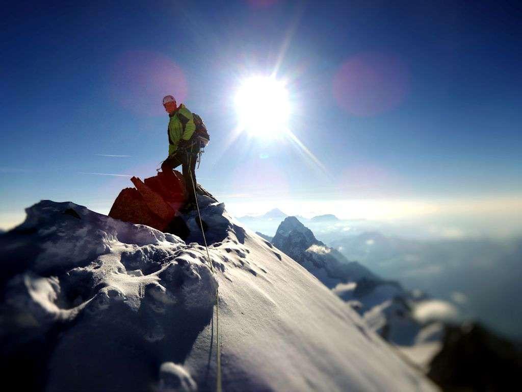 Andrea in cima al Mont Maudit
