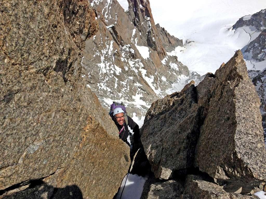 Marc in uscita in cima alla pointe Mediane.