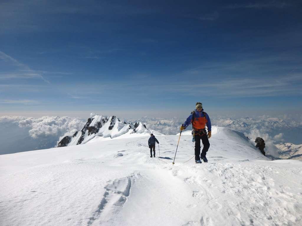 Pierre e Benoit nei pressi della vetta del Monte Bianco.
