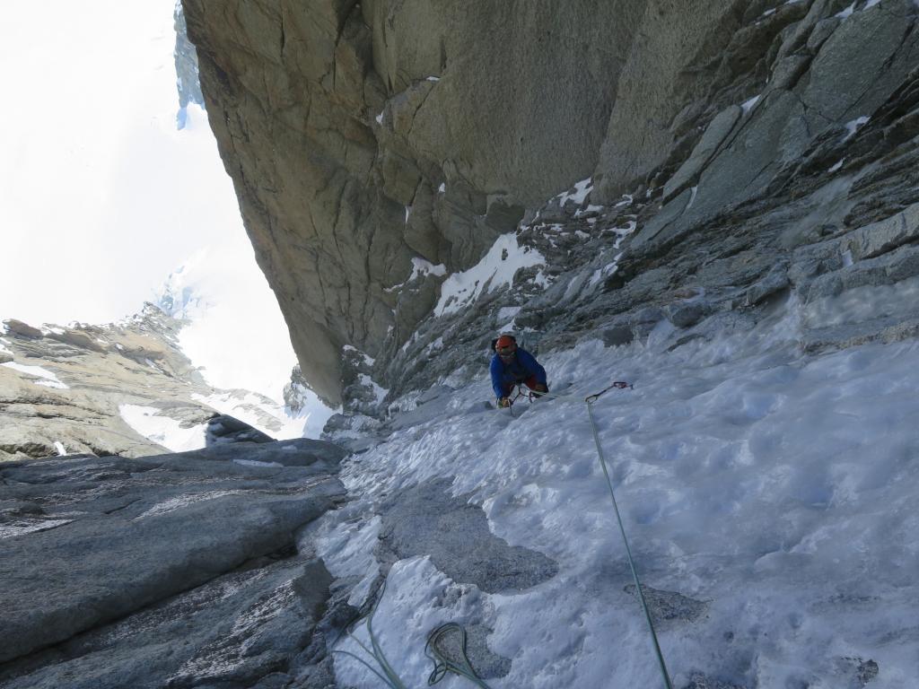 Parte alta: ghiaccio effimero ma quanto basta per progredire in sicurezza.