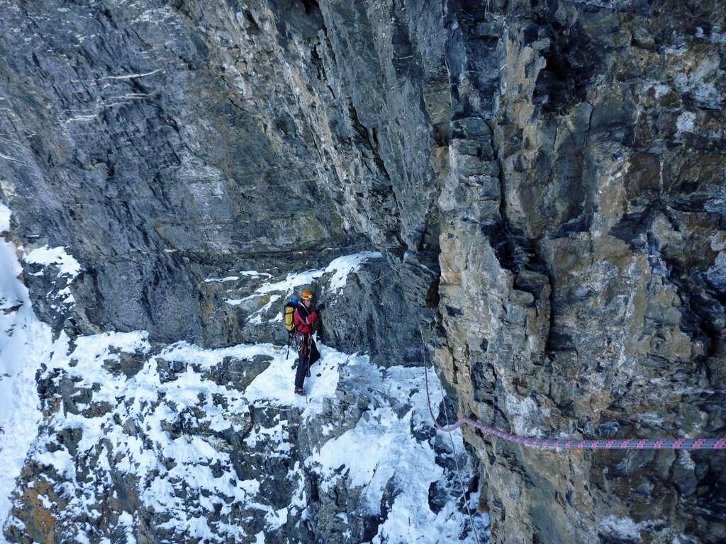 il tiro dopo il camino della cascata...l'alpinista