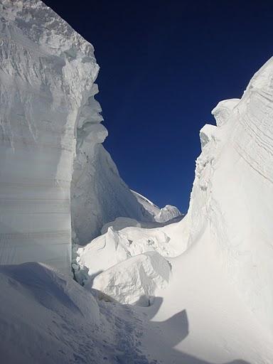 Le pareti di ghiaccio ai nostri lati sono impresionanti..