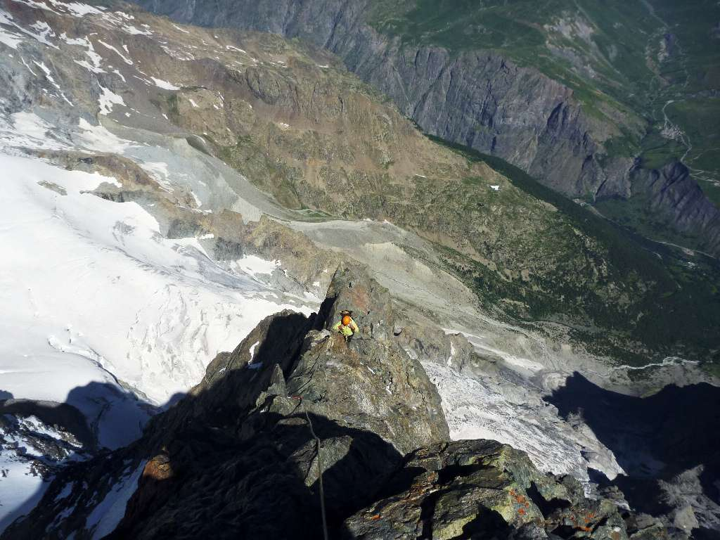 cresta aerea arrivando in cima alla Meije
