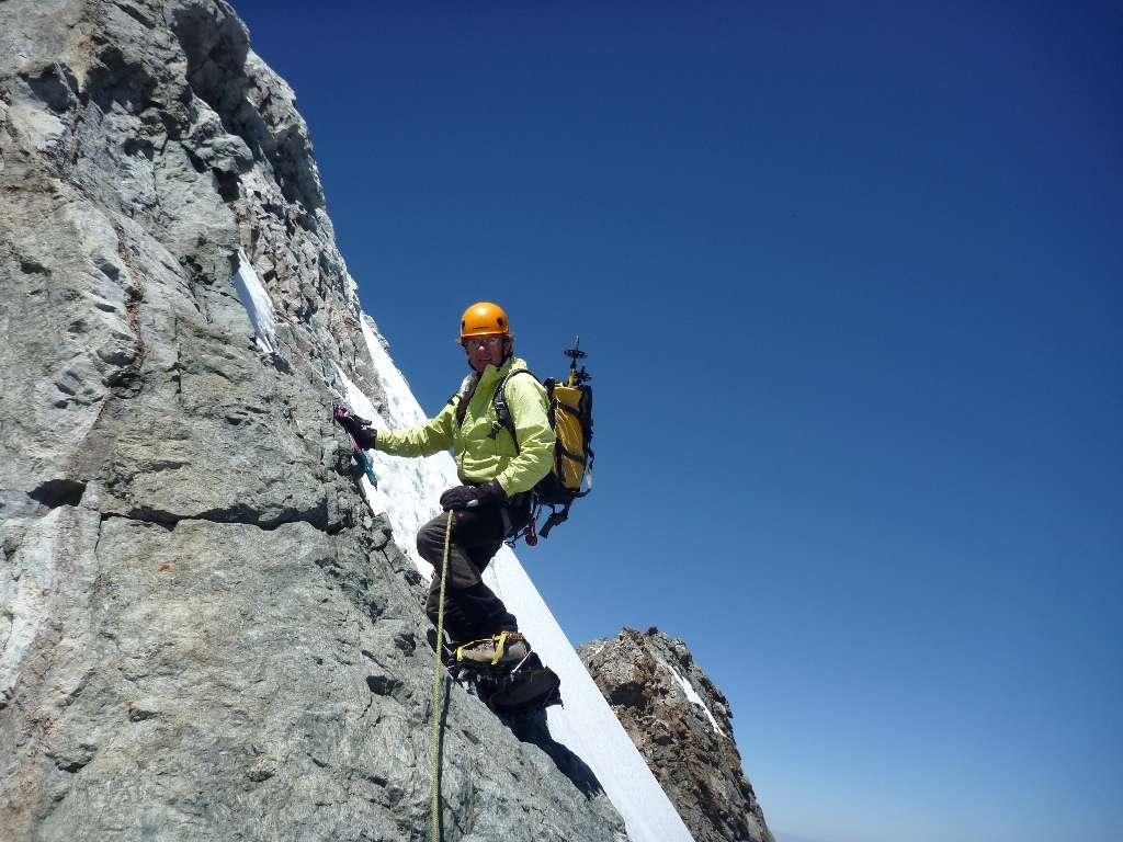 Max sulla cresta affilata che porta al Doit de Dieu anche detto Meije Orientale