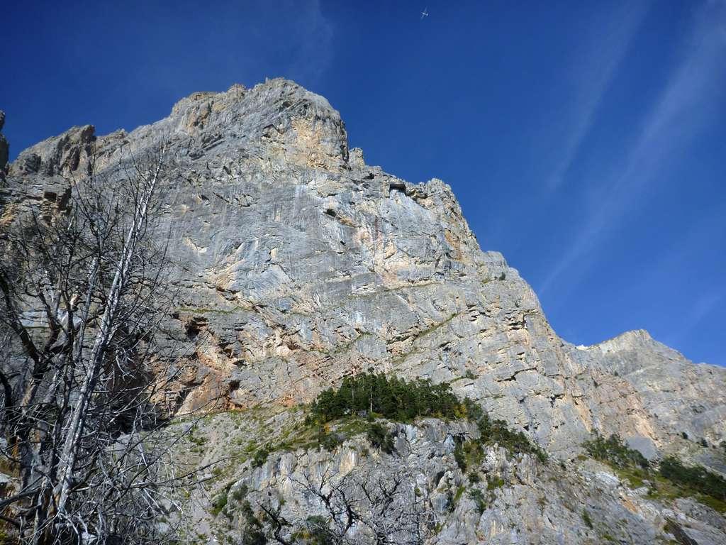 La bellissima parete della Tete d'Aval